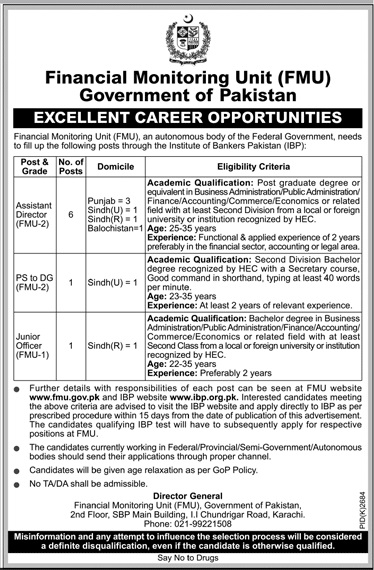 Financial Monitoring Unit FMU Assistant Director Jobs 2019
