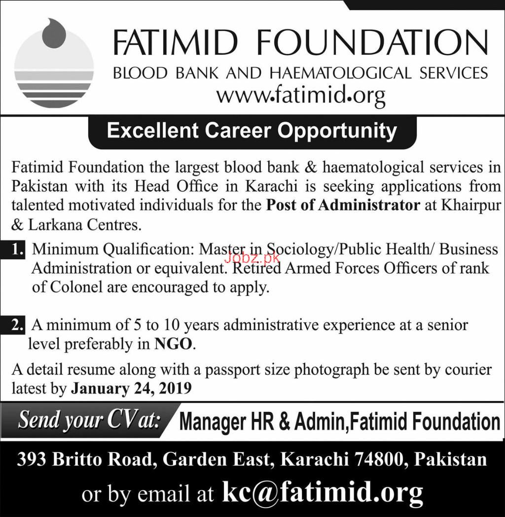 Administrator Job in Fatimid Foundation