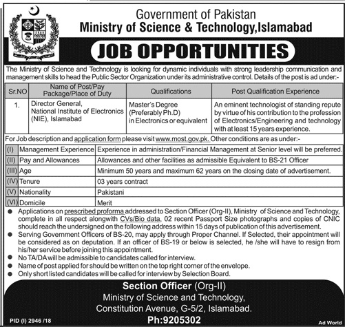 Ministry of Science & Technology Director General Jobs 2019