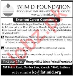 Fatimid Foundation Karachi NGO Jobs 2019 for Administrator