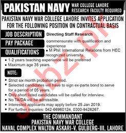 Pakistan Navy War College Lahore Jobs 2019
