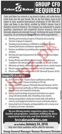 Cakes & Bakes Lahore Jobs 2019 for Chief Finance Officer
