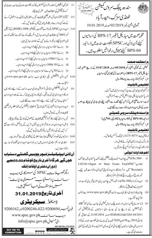 Sindh Public Services Commission SPSC Jobs 2019