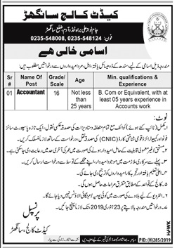 Accountant Jobs in Cadet College Sanghar