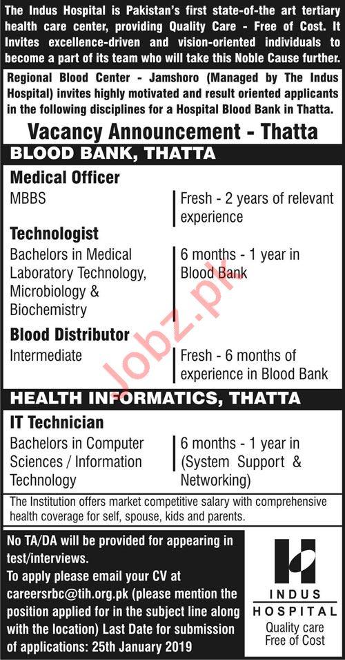 Indus Hospital Jobs 2019 in Thatta