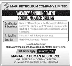 Mari Petroleum Company  General Manager Drilling Jobs 2019