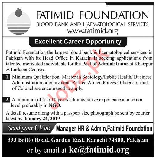 Fatimid Foundation Jobs 2019 For Khairpur & Larkana Centres
