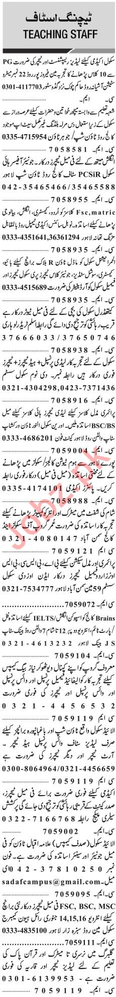 Jang Sunday Classified Ads 13th Jan 2019 for Teaching Staff