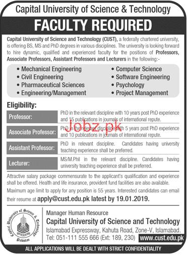 Capital University of Science & Technology CUST Jobs 2019