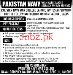 Pakistan Navy War College Lahore Research Faculty Jobs