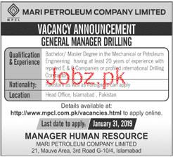 General Manager Job in MARI Petroleum Company Limited