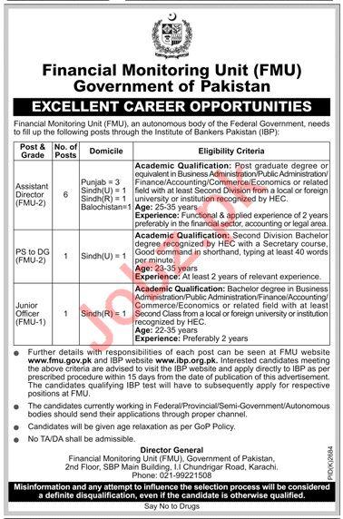Financial Monitoring Unit FMU Karachi Jobs 2019