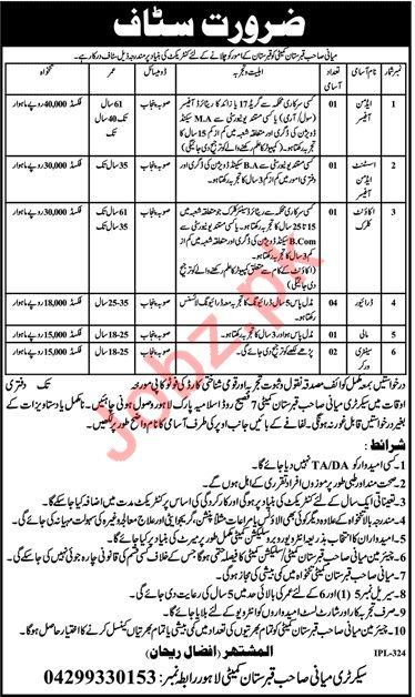 Miani Sahib Graveyard Committee Lahore Jobs 2019