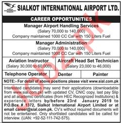 Sialkot International Airport Jobs Manager Administration