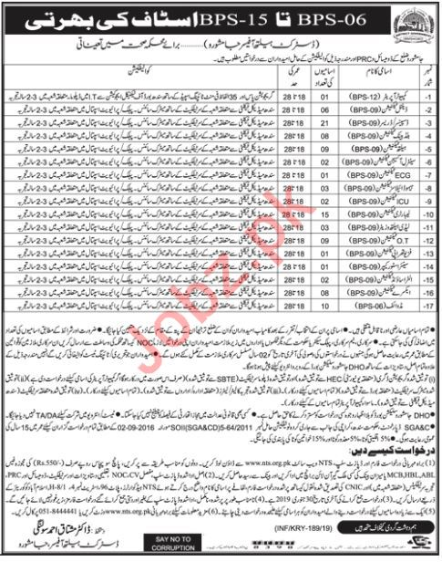 District Health Authority Jamshoro Jobs 2019 for Dressers