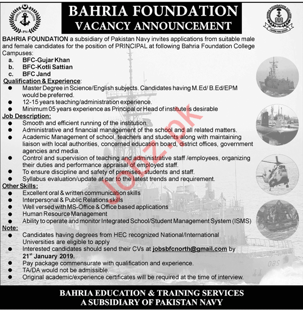Bahria Foundation Colleges Campuses Jobs 2019