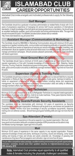 Islamabad Club Jobs 2019 in Islamabad