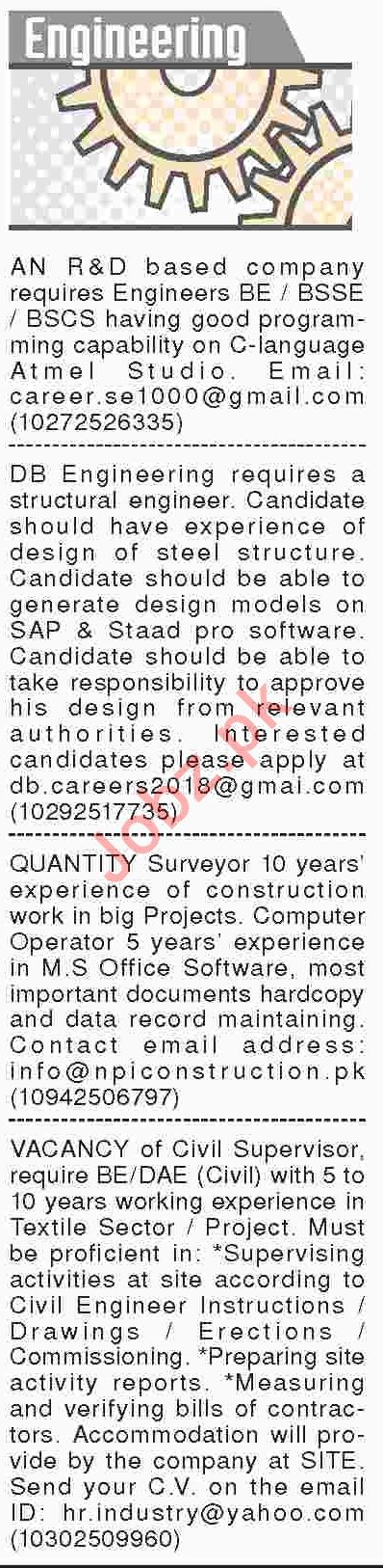 Dawn Sunday Classified Ads 13th Jan 2019 for Engineering