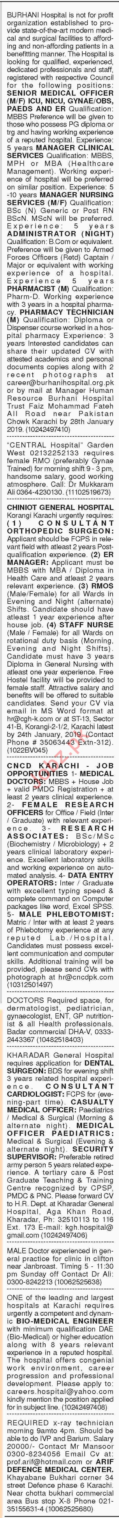 Dawn Sunday Classified Ads 13th Jan 2019 for Medical Staff