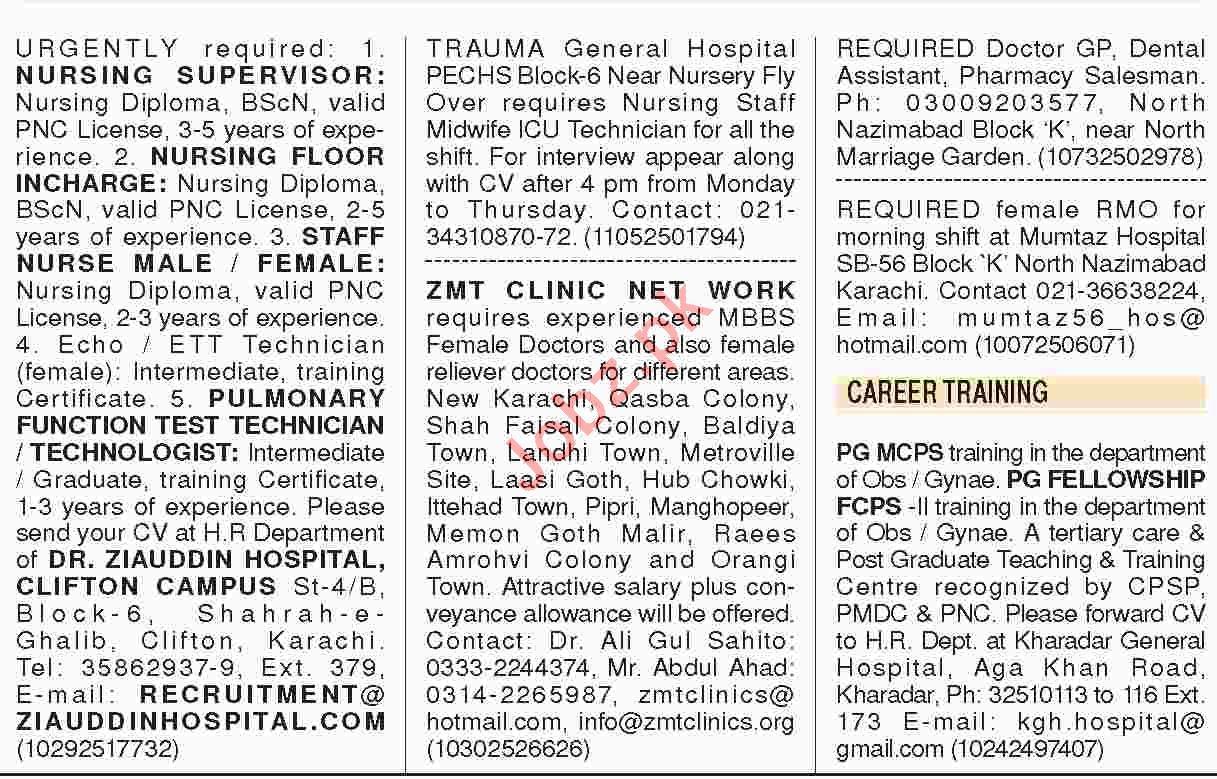 Dawn Sunday Classified Ads 13th Jan 2019 Paramedical Staff