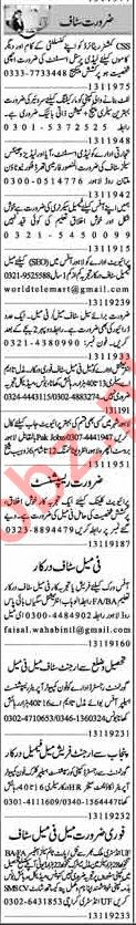 Dunya Sunday Classified Ads 13th Jan 2019 for Office Staff