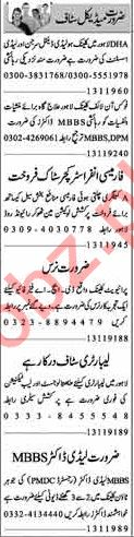 Dunya Sunday Classified Ads 13th Jan 2019 for Medical Staff