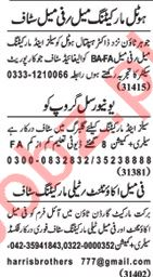 Nawaiwaqt Sunday Classified Ads 13th Jan 2019 Sales Staff