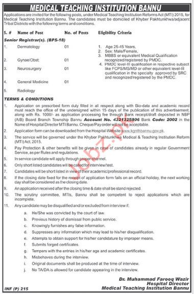 Medical Teaching Institution Bannu Senior Registrar Jobs