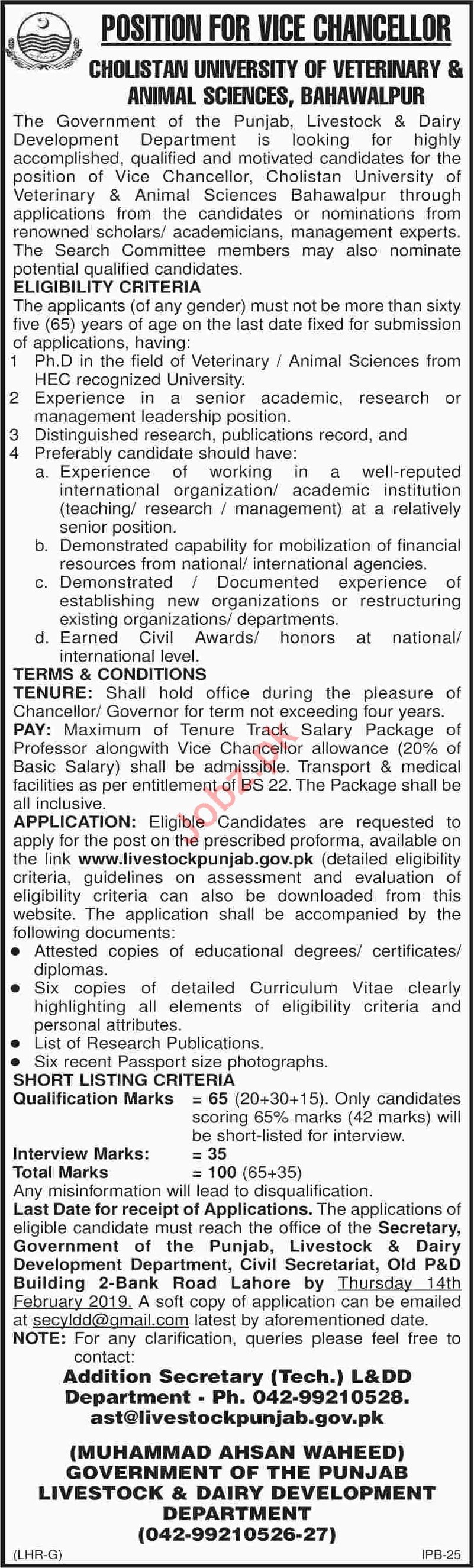 Vice Chancellor Job 2019 in Bahawalpur