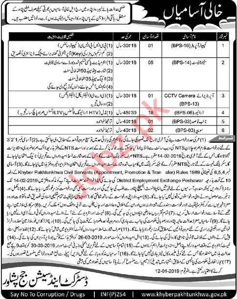 District & Session Judge Peshawar Driver Jobs
