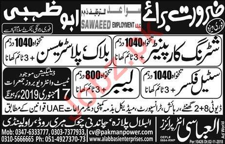 Sawaeed Employment LLC Jobs 2019 in Abu Dhabi UAE