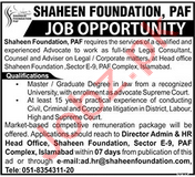 Shaheen Foundation Legal Consultant Jobs 2019