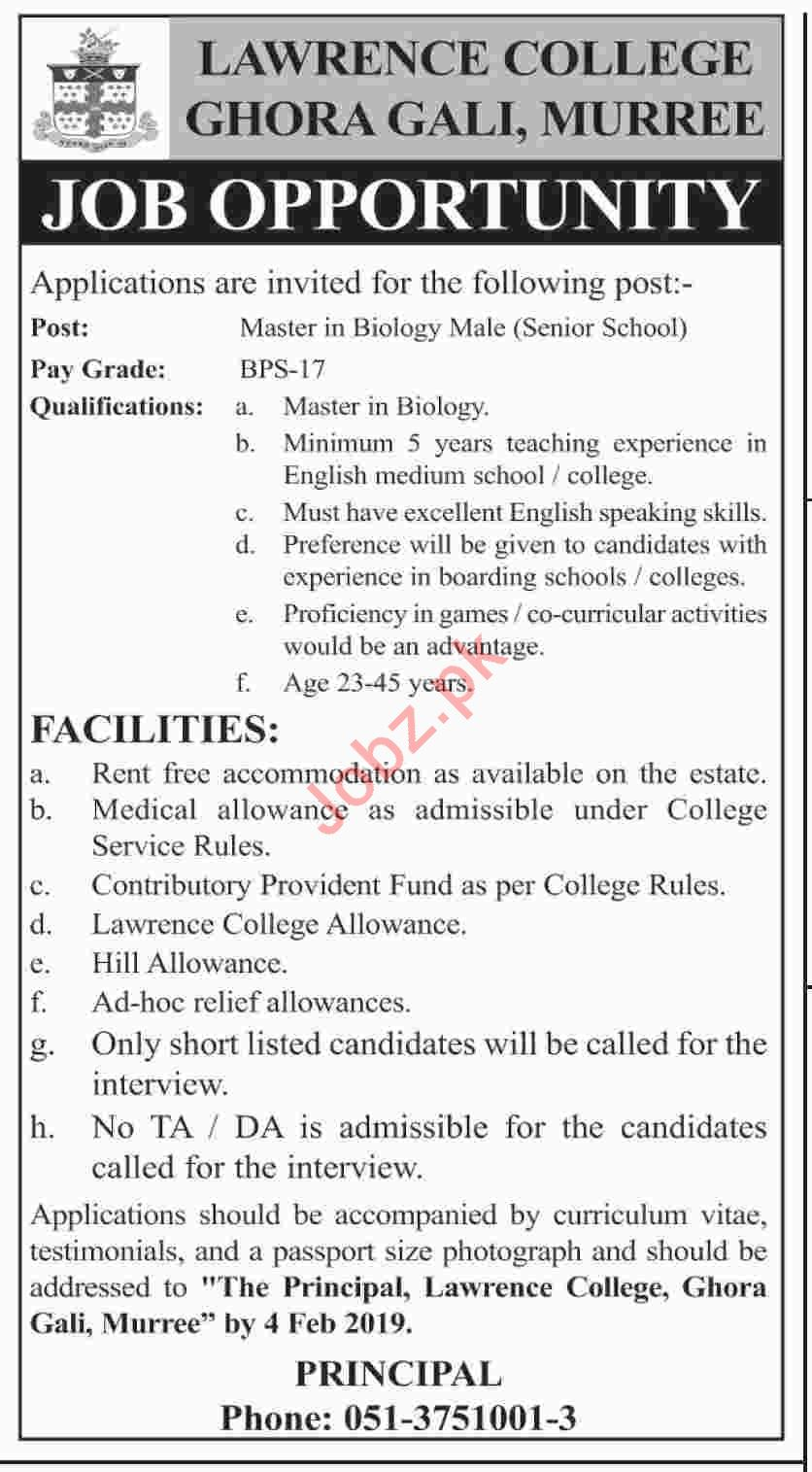 Lawrence College Ghora Gali Murree Jobs 2019 for Teachers