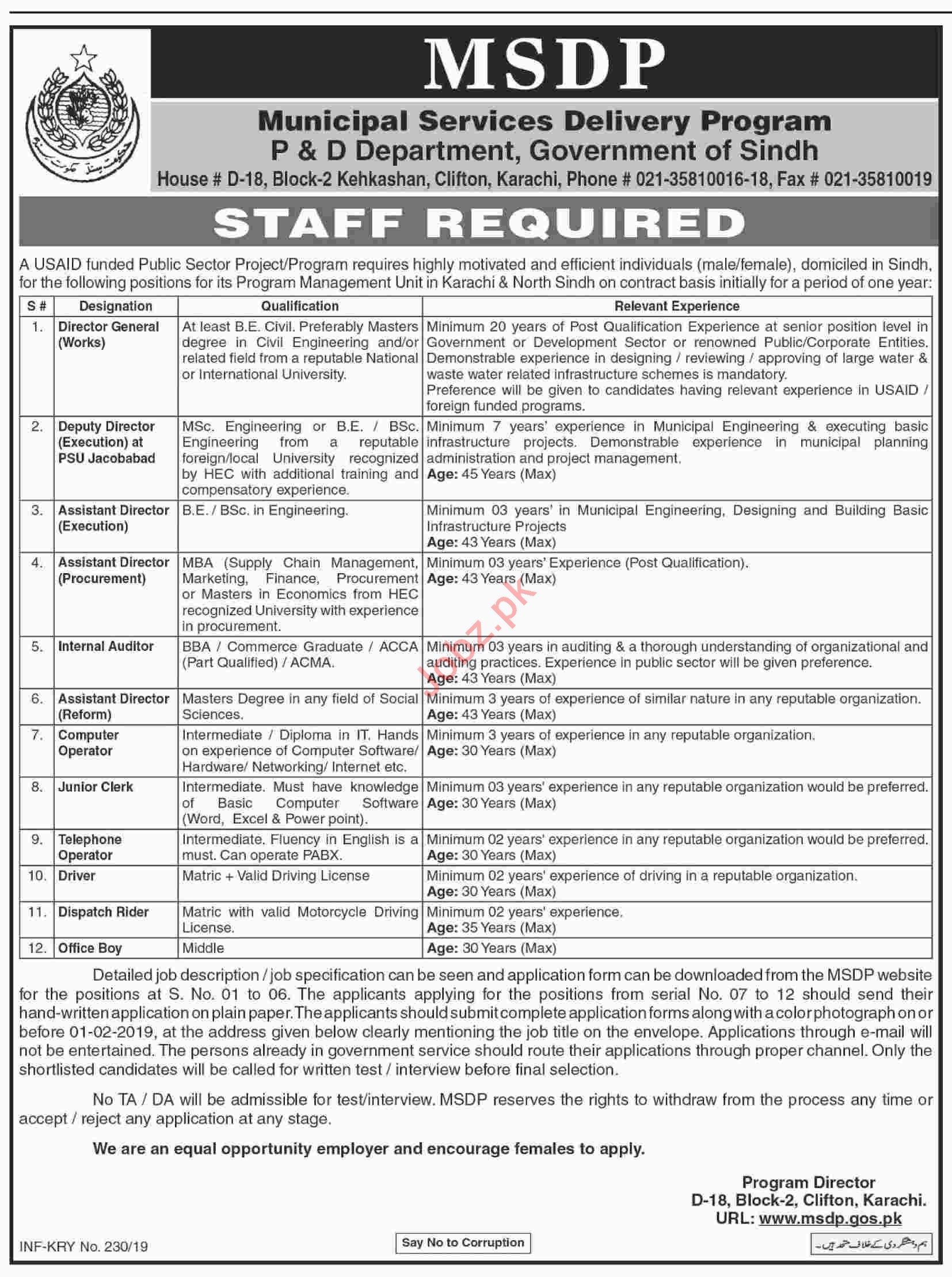 Sindh Municipal Services Delivery Program MSDP Jobs 2019