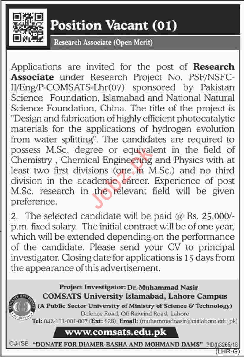 COMSATS University Islamabad Jobs 2019 Research Associate