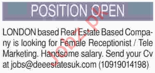 Female Receptionist Jobs 2019 in Karachi