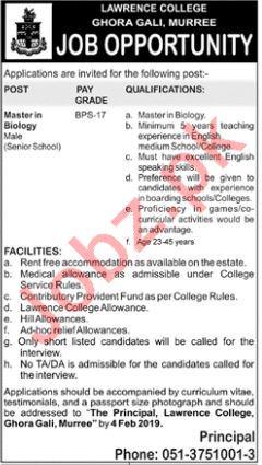 Lawrence College Biology Teacher Careers