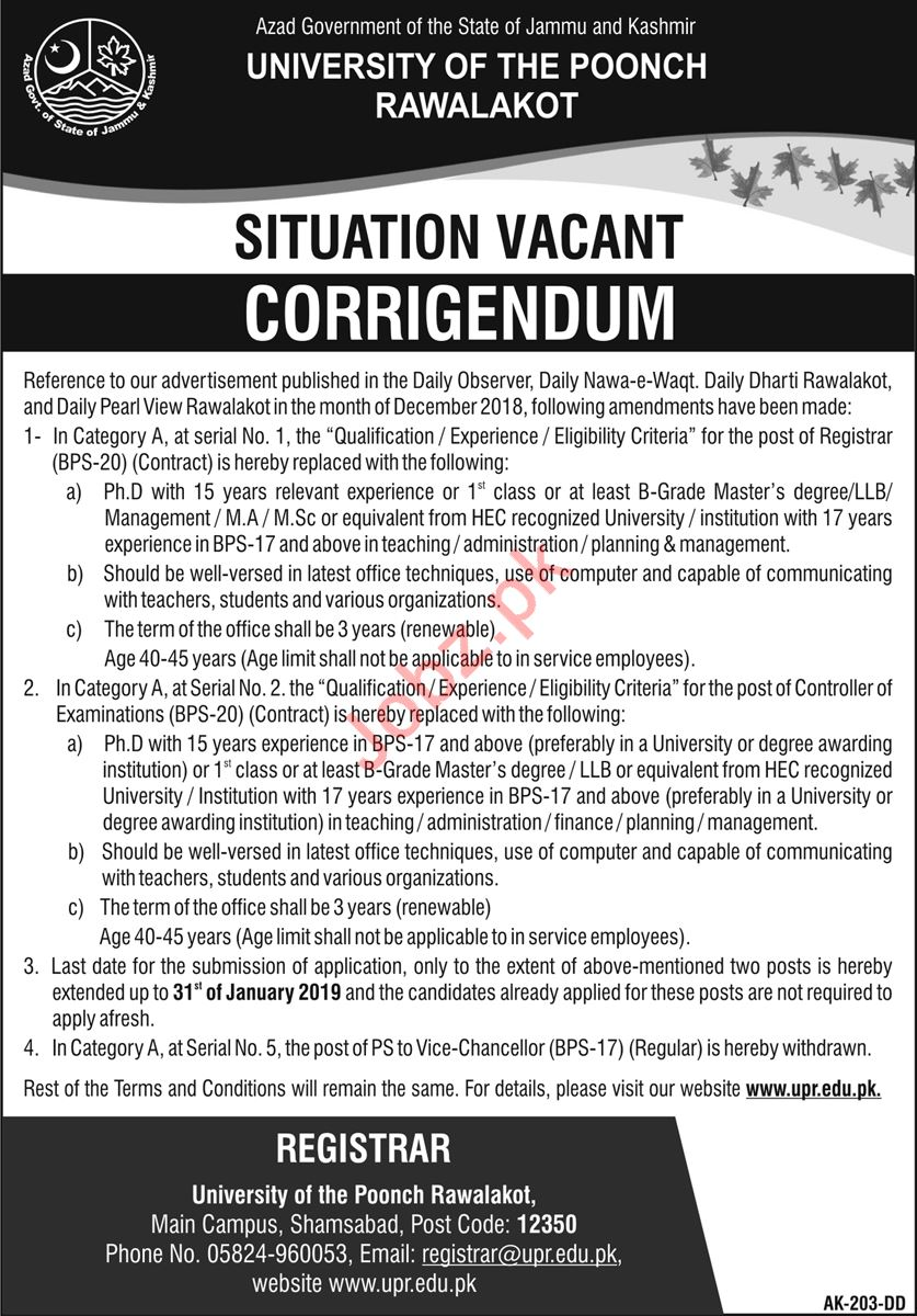 Registrar Jobs at University of Poonch