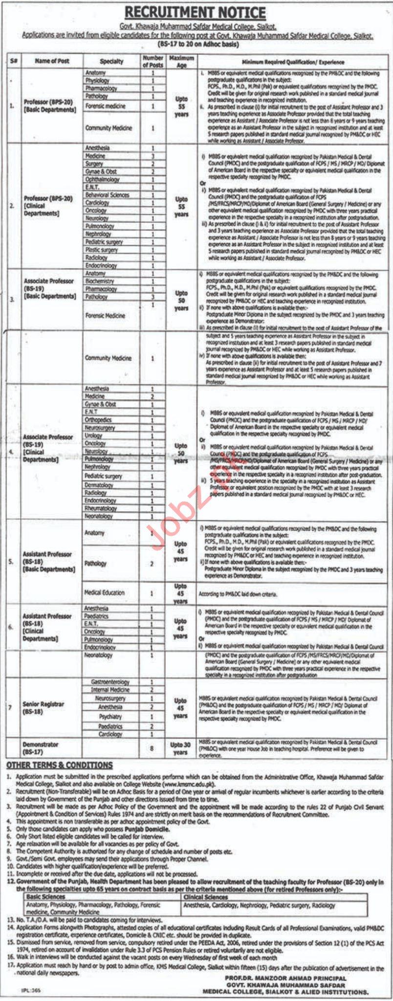 Khawaja Muhammad Safdar Medical College Professor Jobs
