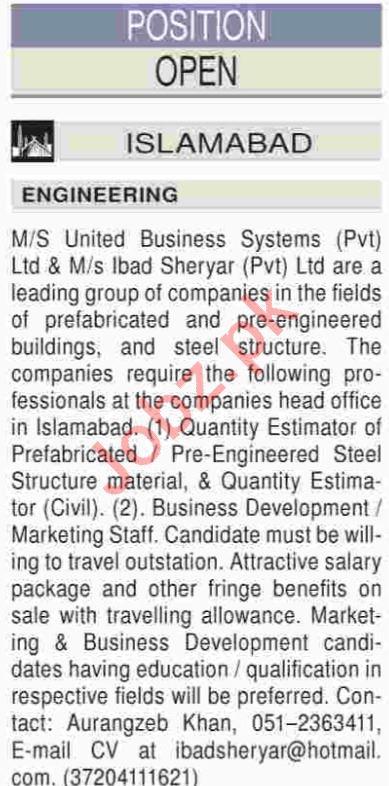 Business Development Executive & Quantity Estimator Jobs