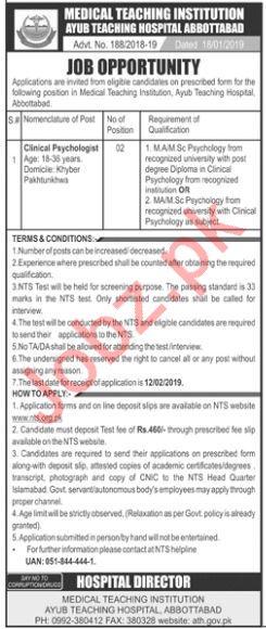 MTI Ayub Teaching Hospital Abbottabad Jobs 2019 via NTS
