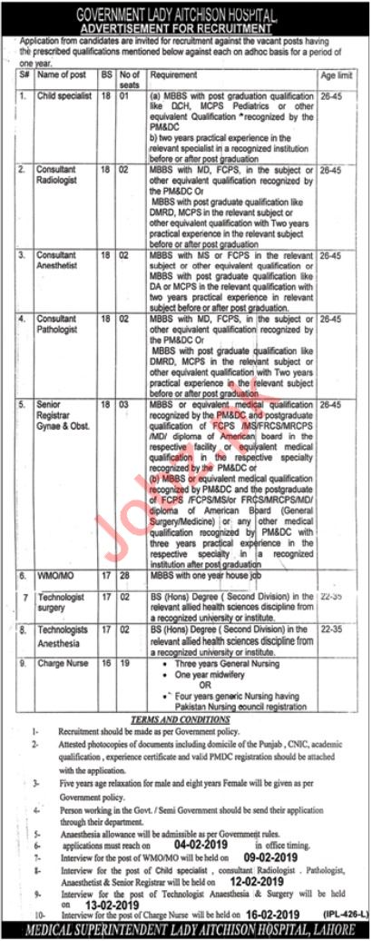 Lady Aitchison Hospital Medical Jobs 2019 in Lahore