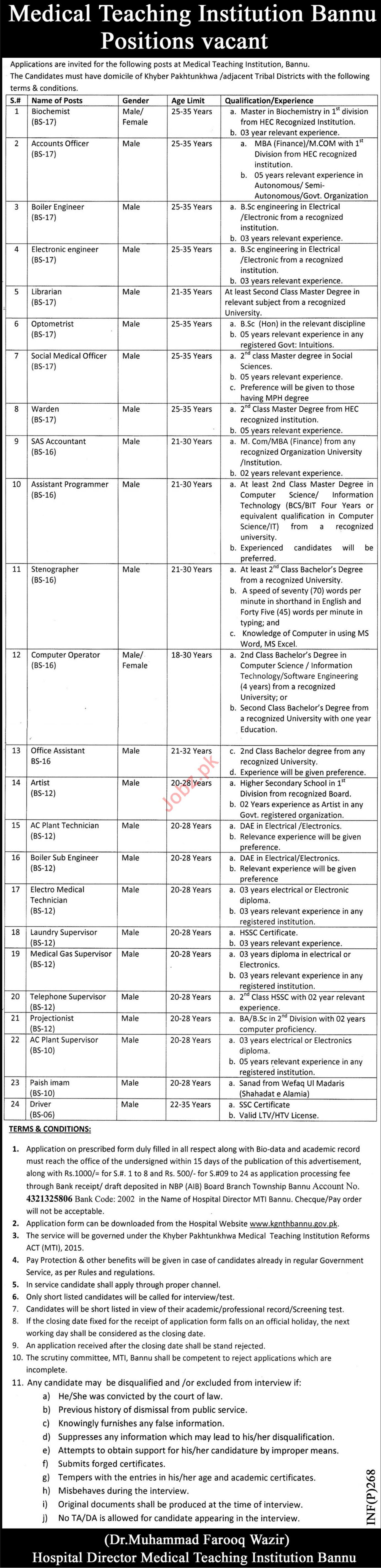 Medical Teaching Institution MTI Bannu KPK Job 2019