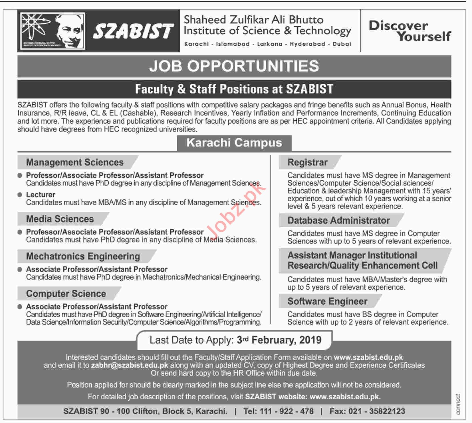 Professor Management Sciences Jobs at SZABIST