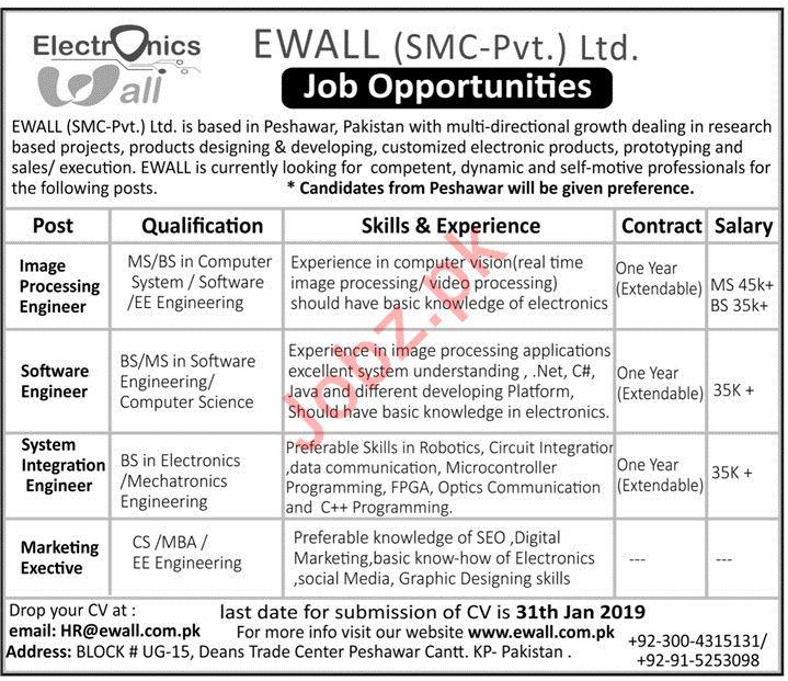 EWALL SMC PVT LTD Jobs 2019 in Peshawar KPK