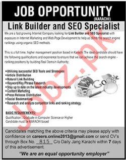 Link Builder & SEO Specialist Jobs 2019 in Karachi