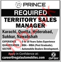 Regal Auto Mobiles Territory Sales Manager Jobs