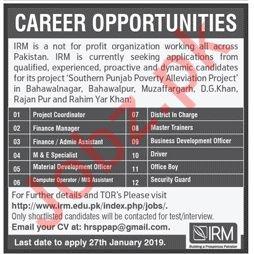 Institute of Rural Management IRM Lahore Jobs 2019