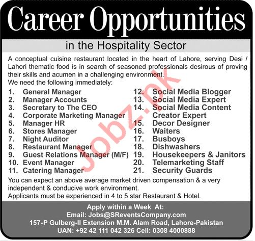 General Manager, Manager Accounts, Social Media Blogger Jobs