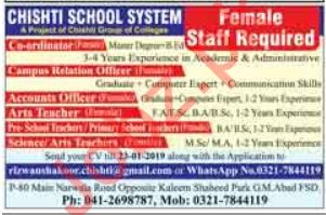Chishti School System Jobs 2019 For Faisalabad